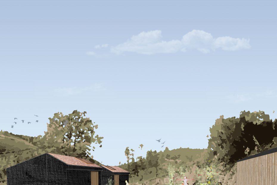 Perspective Extérieure - Concours pour une cabane de yoga au Portugal