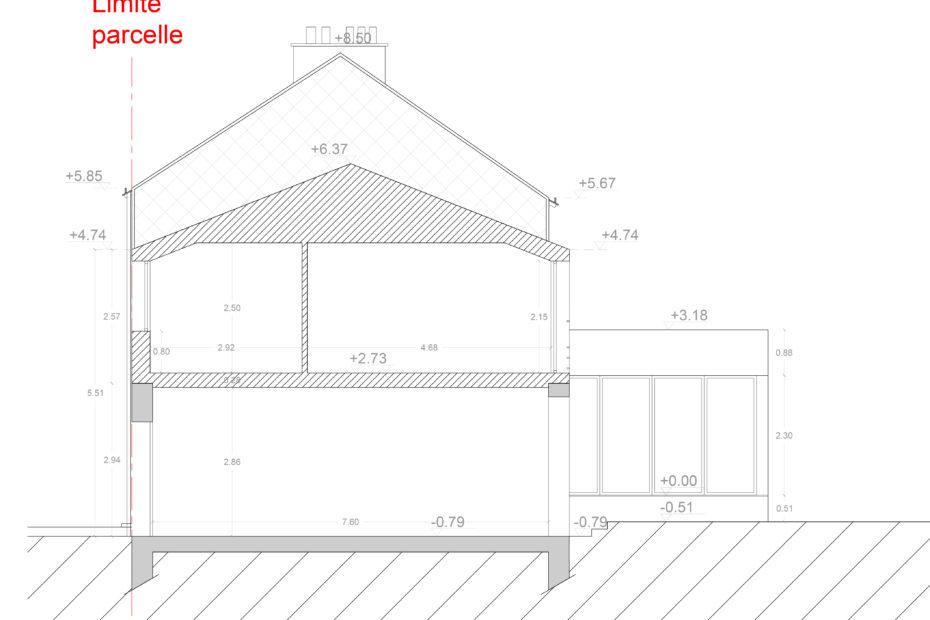 Plan de coupe - Projet d'extension et de surélévation d'une maison individuelle à Cholet