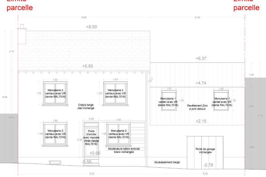 Façade sur rue - Projet d'extension et de surélévation d'une maison individuelle à Cholet