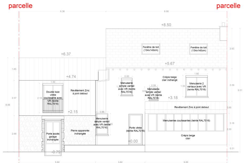 Façade sur jardin - Projet d'extension et de surélévation d'une maison individuelle à Cholet