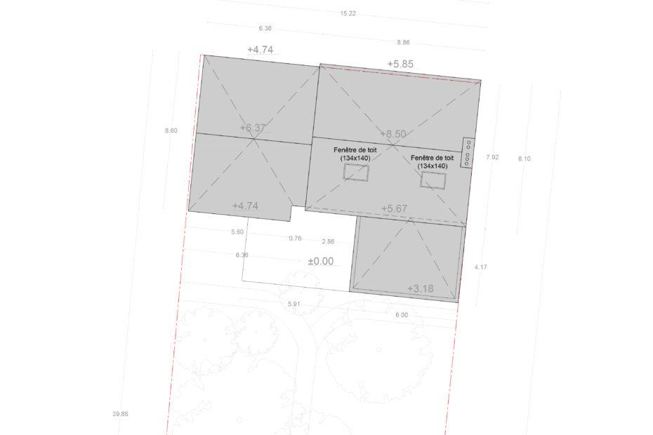 Plan de toiture - Projet d'extension et de surélévation d'une maison individuelle à Cholet